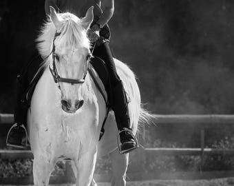 Horse Photography, Black and White Photo of a Rider on Horseback,  Horse Riding Rural Western Photograph Farm Decor Art White Horse Canvas