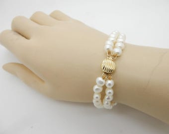 """Vintage 14K Yellow Gold Clasp 5mm Freshwater Pearl Double Strand Bracelet-7.5""""; sku # 3385"""