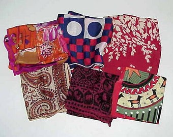 6 Very Vintage Scarves All Different Sizes Designs and Materials