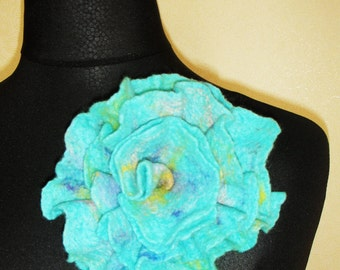 Teal Flower Brooch   Felted Flower   Felt Flower Brooch   Wet Felting   Organic Wool  Wool Accessories