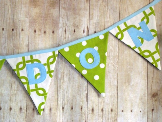 Custom Green Banner - Name Sign - Chevron Bunting - Polka Dot Banner - Name Flags - Customized Name Decoration - Boys Baby Shower Decor