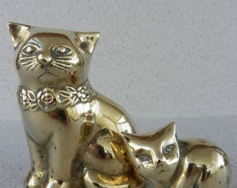 Pair of Vintage Brass Cat Figures, Cat and Kitten, Home Decor, Figurines