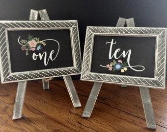 Set of 10 Custom Handpainted Wedding Table Number Easels