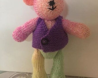 Hand knitted sherbet teddy