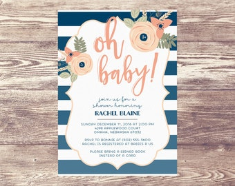 Printed Oh Baby! Shower Invitation, Baby Shower Invite, Birth Announcement, Couples Baby Shower Invitation, Couples Baby Sprinkle Invitation
