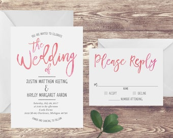 The Blush Watercolor Wedding Invitation and RSVP Set, Blush Pink Wedding Invitation, Watercolor Wedding Invite, Customized Wedding Invite