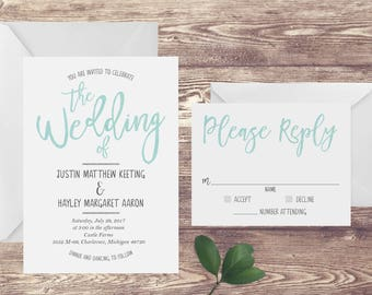 The Turquoise Watercolor Wedding Invitation and RSVP Set, Teal Blue Wedding Invitation, Watercolor Wedding Invite, Customized Wedding Invite