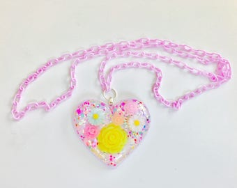 Resin Heart Flower Garden Pastel Kawaii Necklace