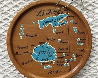 Wooden Fiji Islands Map Wall Art