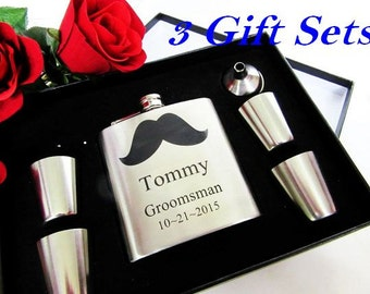3 Groomsmen Flask Sets // Personalized Mustache Flasks