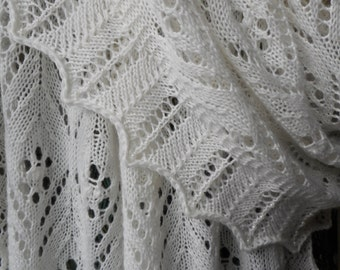 Hand Made White Estonia Beaded Knit Lace Shawl