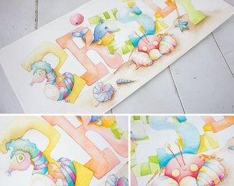 CUSTOM NAME Painting - Personalized Children's Art - Watercolor Baby Name Art