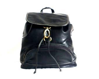 Vintage Backpack / black backpack / little