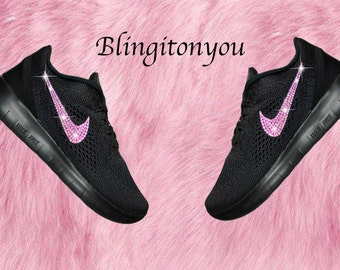 Black Swarovski Nike Free RN Running Shoes Customized With Pink Swarovski Crystals Bling Nike Shoes