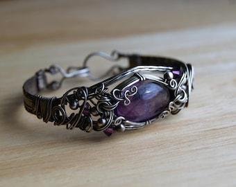 Amethyst Bracelet, Wire Wrapped Amethyst Bracelet
