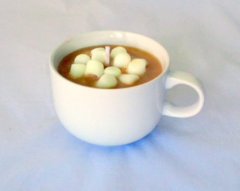 Hot Cocoa Candle, hot chocolate candle, drink candle, candle mug, marshmallow candle, container candle, chocolate candle, food candle