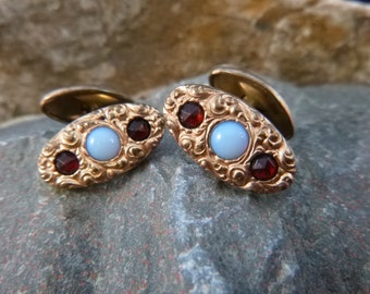 Antique Art Nouveau Cuff Links With Old Cut Red Crystals and Blue Glass Stones | Old World Charm