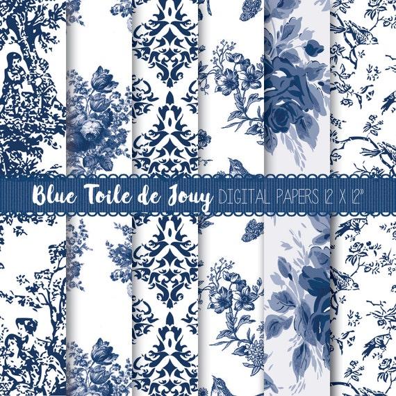 Toile digital paper floral digital paper pack toile paper - Papel pintado toile de jouy ...