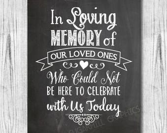 Printable Remembrance Sign, In Loving Memory Wedding Sign, Chalkboard Wedding Sign Printable, In Memory of, Wedding Signage