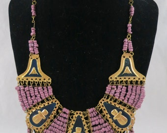 Egyptian Revival Purple Beads Gold Tone and Blue Enamel Necklace