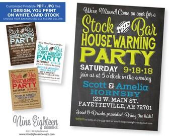 Stock The Bar Housewarming Party INVITATION. Custom printable PDF/JPG invitation. I design, you print. Choose your accent colors