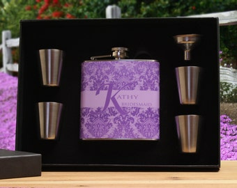 Personalized Flask for Women, Bridesmaid Gift, Purple, Lavender Flask Gift Set