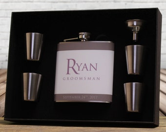 Gray Wedding, Groomsman Gift, Personalized Flask, Gray, Mauve