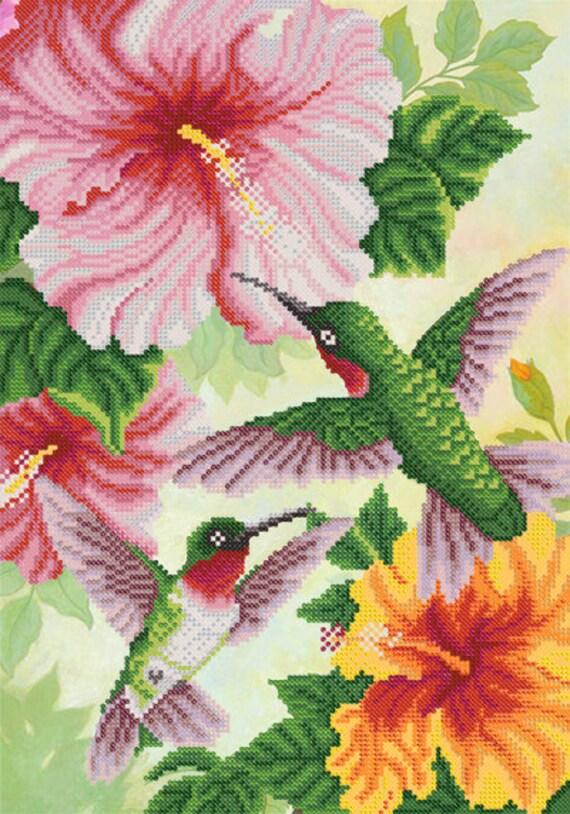 Hummingbirds and Hibiscus DIY bead embroidery kit Needlepoint beading House warming gift idea craft set
