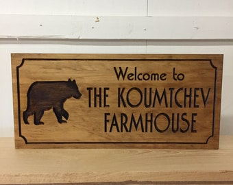 Bear Silhouette Wood Cabin Sign Personalized Lodge Plaques Grizzly Bear Black Bear Mountain Woodland Signs Lakehouse Cottage Benchmark Signs