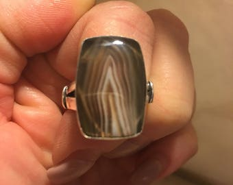 July Special! Botswana Agate, 925 Sterling Silver, Vintage Style Ring Size 8.25