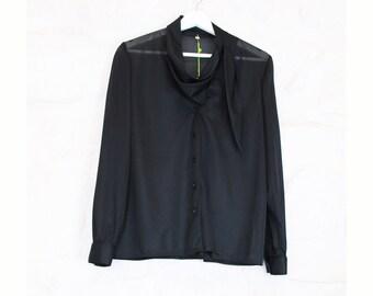 Vintage black blouse. 70's.  Size S-M. Polyester.