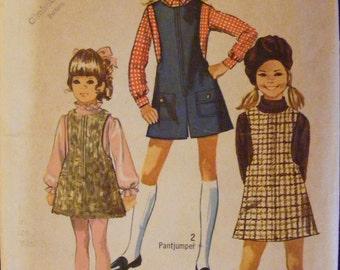 1969 Simplicity Sewing Pattern 8375 Girls' Jumper Mini Pantjumper Size 7 Breast 26