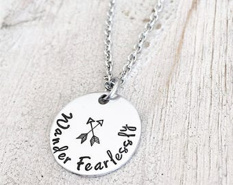 Personalized Graduation Necklace - High School Graduation Necklace - Wander Fearlessly - Inspirational Graduation Gift -graduation gift 2017