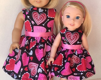"""American Made Girl Doll Clothes Dress Fits 14.5"""" and 18"""" Doll- Hearts and Arrows ...Valentine's Day"""