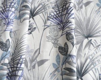Kitchen Curtain, White Gray Cafe Curtain, Kitchen Valance, Linen Natural Valance, Gray Blue Palm Leaves Curtains, Window Valance