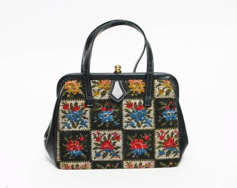 vintage flower tapestry carpet handbag purse retro bag