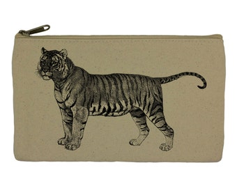 Pencil case/ stationary/ tiger/ pencil pouch/ canvas bag/ pencil holder/ make up bag/ school supplies