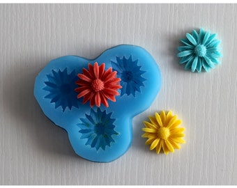 3-Cavity Sunflower Polymer Clay Mold Flexible Silicone Mould For Handmade Soap Candle Candy Cake Fimo Resin Crafts