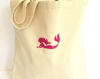 Mermaid tote bag, Personalized tote bag for kids, beach bride tote, bridesmaid tote, Personalized tote, Mermaid beach bag, kids  beach bag