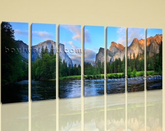 Extra Large Yosemite National Park Landscape Painting Giclee Printed On Canvas, Extra Large Landscape Wall Art, Living Room, Cornflower