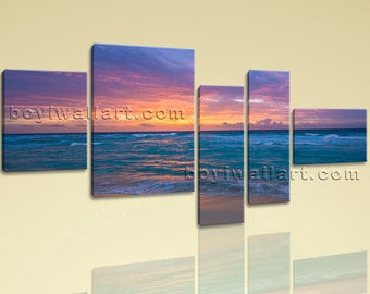 Extra Large Seascape Painting Sunset Home Decor Bedroom 5 Pieces Print, Extra Large Sunset Wall Art, Bedroom, Endeavour