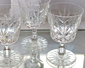 4 Dessert Wine or Large Port Glasses - Clear Cut Crystal -  Straight Sided Stemmed - Two Matching Sets of Four Available , so Eight in Total