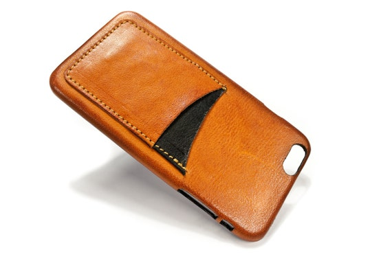 "iPhone 6 Plus 5.5"" leather credit card case 2 slots vertical choose colour of BODY and ACCENT"