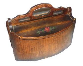 Antique Primitive  Wooden Bucket Basket Original Painting Flower Decoration  Flip Top Lid RARE Shaker