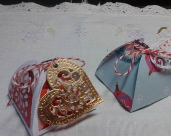 """Small gift boxes( set of Three). 3x3'"""" decorated gift boxes w metallic gold heart gift tags w baker string ties/Costume Gift Boxes"""