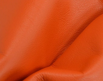 "Classic Orange Crush ""Signature""  Leather Cow Hide 4"" x 6"" Pre-Cut 2-2 1/2 oz flat grain DE-52168 (Sec. 8,Shelf 6,C,Box 1)"