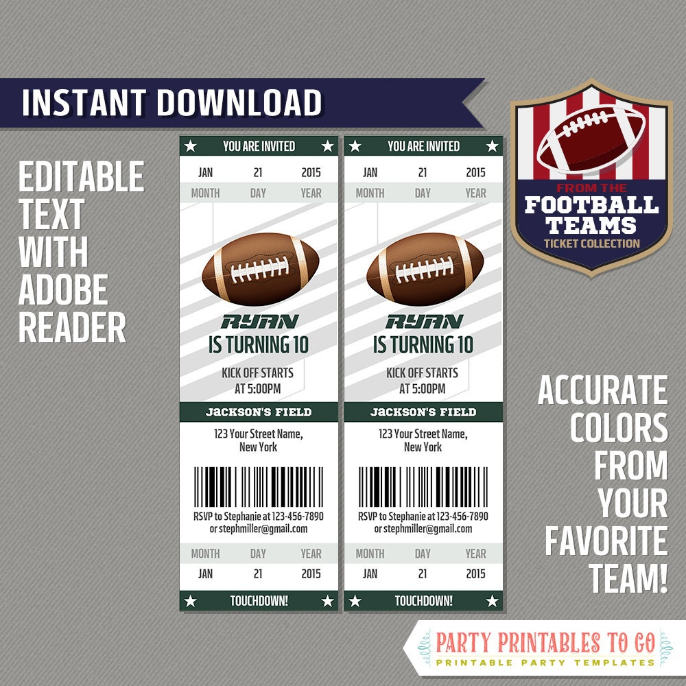 football ticket invitation template green and white