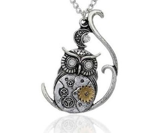 "New Fashion Steampunk Necklace Link Curb Chain Antique Silver Halloween Owl Moon Gear Pendant With Clear Rhinestone - 22 5/8"" long"