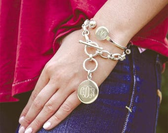 Silver Plated Engraved Charm Bracelet