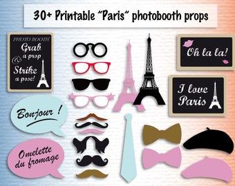 Printable Paris photobooth props instant download photo booth props & sign - Paris party photo booth party printables accessory paris themed